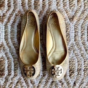 Tory Burch Lurex and Straw Gold Ballet Flats